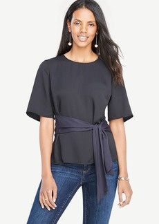 Belted Mixed Media Top