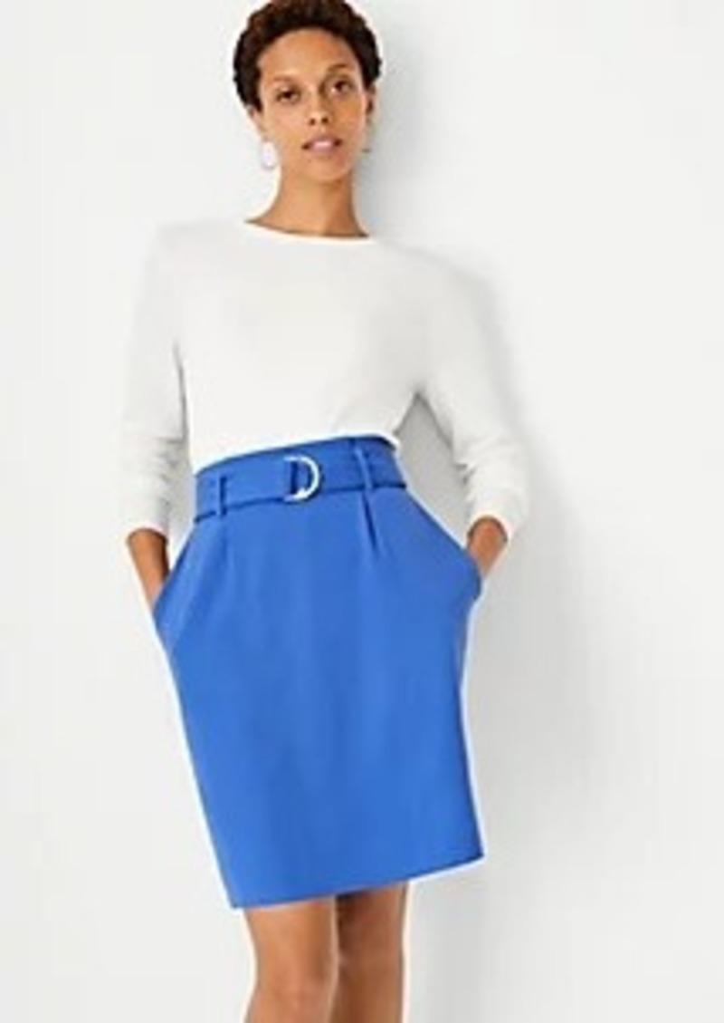 Ann Taylor Belted Paperbag Mini A-Line Skirt