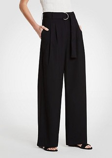 Ann Taylor Belted Pleated Wide Leg Pants
