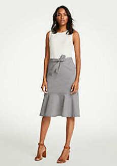 Ann Taylor Belted Seersucker Flounce Skirt