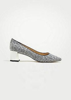 Ann Taylor Bette Houndstooth Flannel Block Heel Pumps