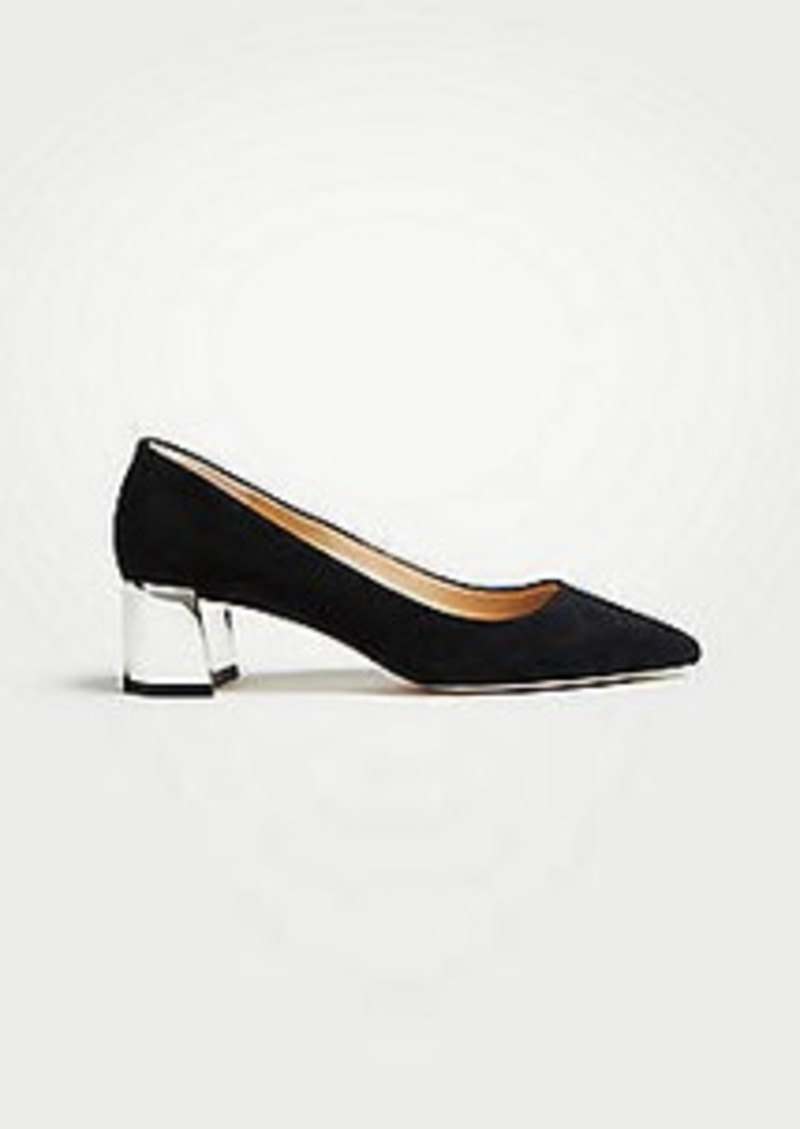 Ann Taylor Bette Suede Block Heel Pumps