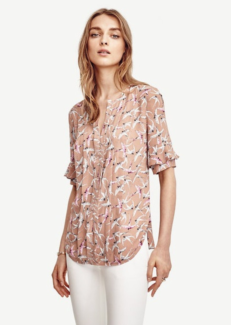 Ann Taylor Bird Ruffle Sleeve Top