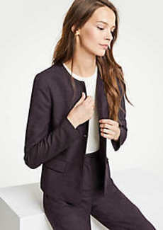 Ann Taylor Birdseye Piped Peplum Jacket