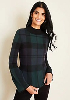 Ann Taylor Blackwatch Plaid Flare Sleeve Sweater