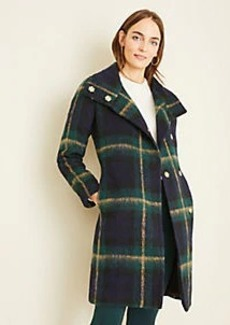 Ann Taylor Blackwatch Plaid Funnel Neck Coat