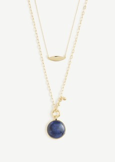 Ann Taylor Blue Stone Pendant Layering Necklace