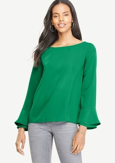 Boatneck Flare Cuff Blouse