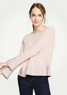 Ann Taylor Boatneck Flare Sleeve Milano Sweater
