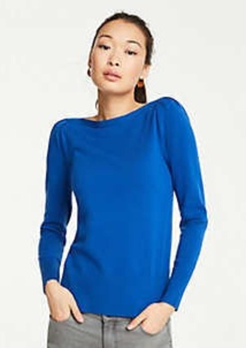 Ann Taylor Boatneck Puff Shoulder Sweater