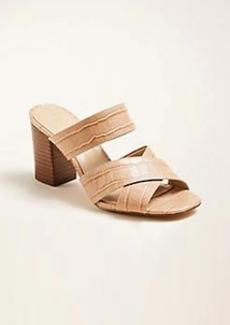 Ann Taylor Bonnie Embossed Leather Block Heel Sandals