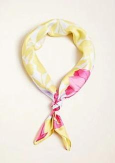 Ann Taylor Border Floral Silk Little Scarf