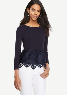 Ann Taylor Botanical Lace Peplum Sweater