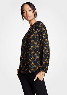 Ann Taylor Botanical Lattice Smocked V-Neck Blouse