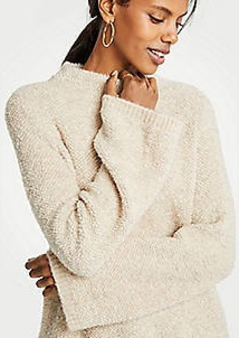 Ann Taylor Boucle Flare Sleeve Mock Neck Sweater