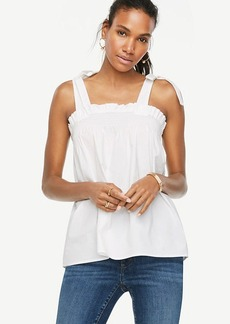 Bow Shoulder Poplin Top