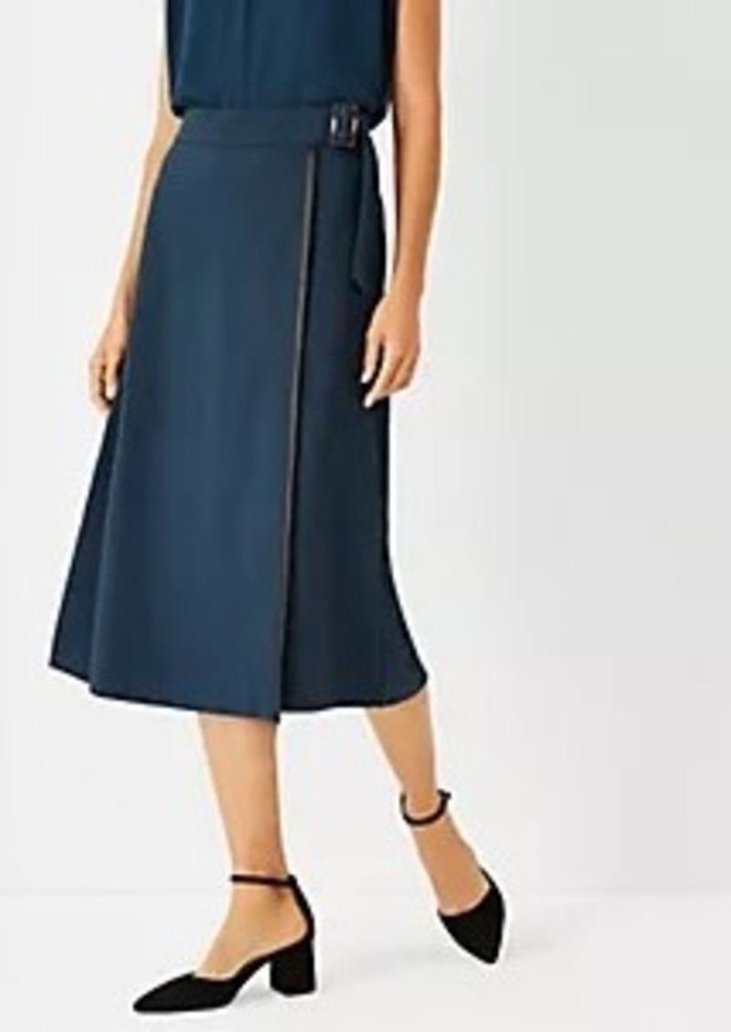 Ann Taylor Buckle Wrap Midi Skirt
