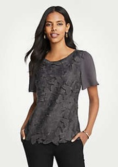 Ann Taylor Butterfly Lace Woven Tee
