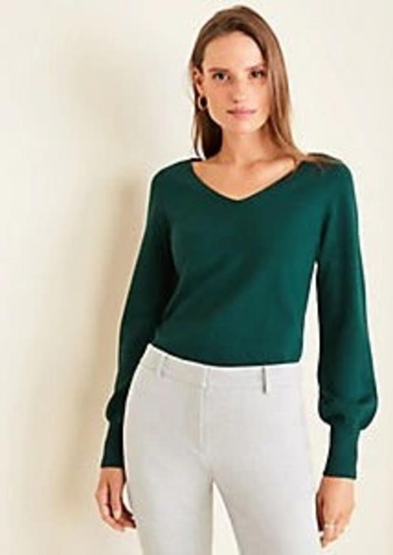 Ann Taylor Button Cuff V-Neck Sweater