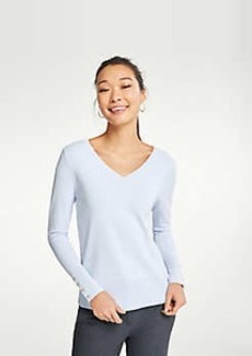 Ann Taylor Button Cuff V-Neck Sweater
