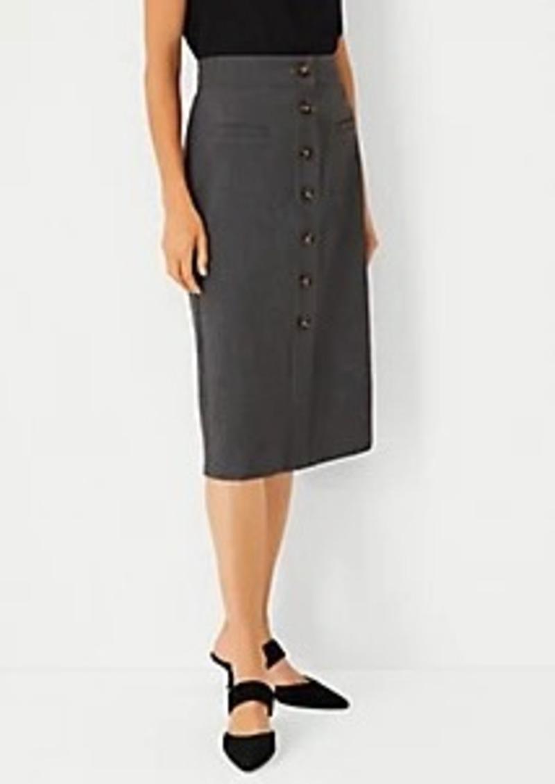 Ann Taylor Button Doubleweave Pencil Skirt
