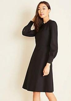 Ann Taylor Button Trim Ponte Flare Dress