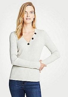 Ann Taylor Button V-Neck Ribbed Sweater