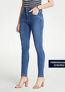 Ann Taylor Buttoned High Waist All Day Skinny Jeans