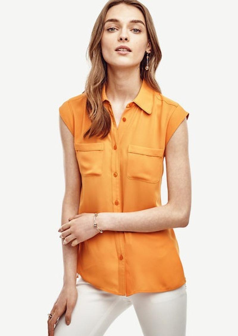 Ann Taylor Cap Sleeve Camp Shirt