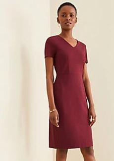 Ann Taylor Cap Sleeve V-Neck Ponte Sheath Dress
