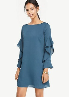 Cascading Ruffle Sleeve Shift Dress