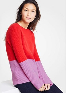 Ann Taylor Cashmere Colorblock Ribbed Crew Neck Sweater