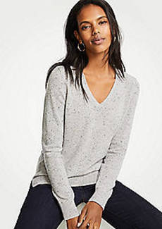 Ann Taylor Cashmere Flecked V-Neck Sweater