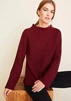 Ann Taylor Cashmere Ribbed Mock Neck Sweater