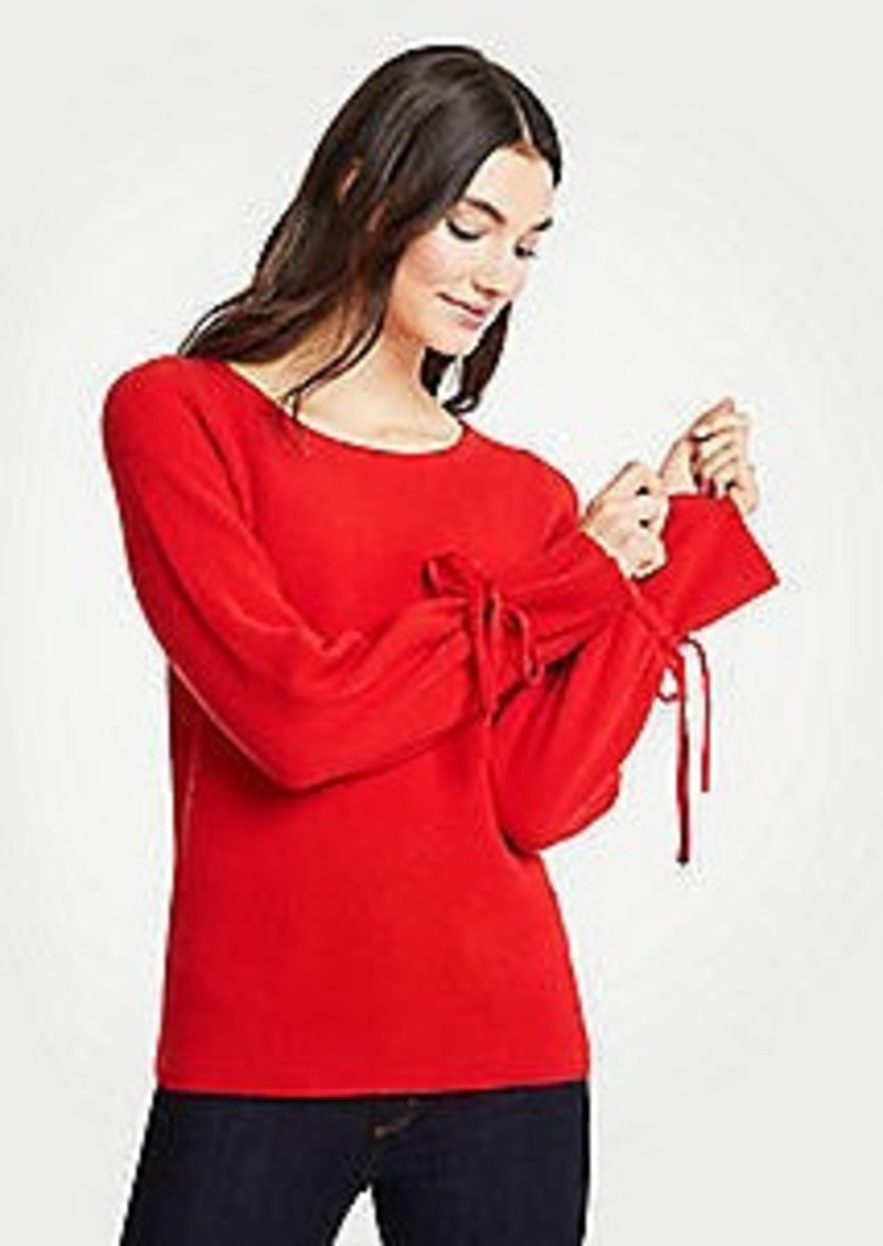 Ann Taylor Cashmere Tie Sleeve Sweater