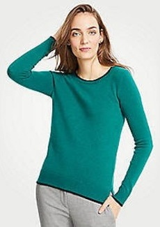 Ann Taylor Cashmere Tipped Crew Neck Sweater