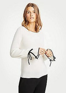 Ann Taylor Cashmere Tipped Tie Sleeve Sweater