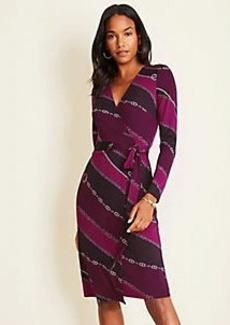 Ann Taylor Chain Print Matte Jersey Wrap Dress