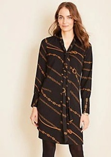 Ann Taylor Chain Print Tie Neck Shift Dress
