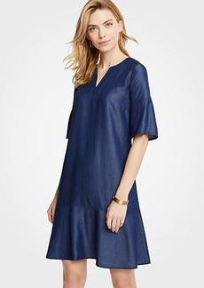 Ann Taylor Chambray Flounce Shift Dress