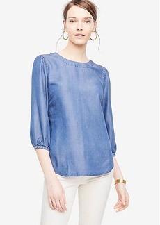 Ann Taylor Chambray Lantern Sleeve Top