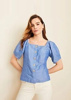 Ann Taylor Chambray Puff Sleeve Top