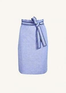 Ann Taylor Chambray Scalloped Pencil Skirt
