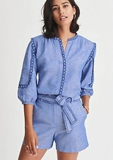 Ann Taylor Chambray Scalloped Popover