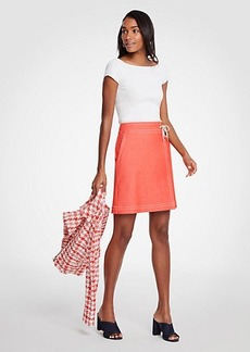 Ann Taylor Chambray Wrap A-Line Skirt