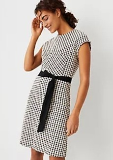 Ann Taylor Checked Belted Flare Dress
