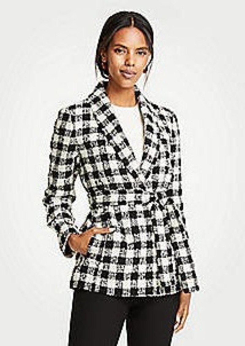 Ann Taylor Checked Belted Jacket