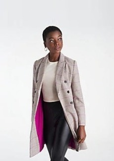 Ann Taylor Checked Double Breasted Chesterfield Coat