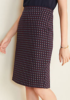 Ann Taylor Checked Flounce Back Pencil Skirt