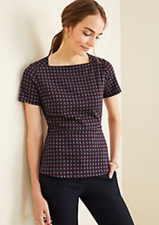 Ann Taylor Checked Square Neck Peplum Top